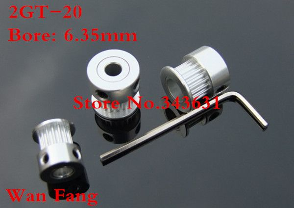 10pcs 2gt-20 Timing Belt Pulley 20 teeth bore 6.35mm fit width 6mm of 2GT timing Belt Wtin hex key and set screw