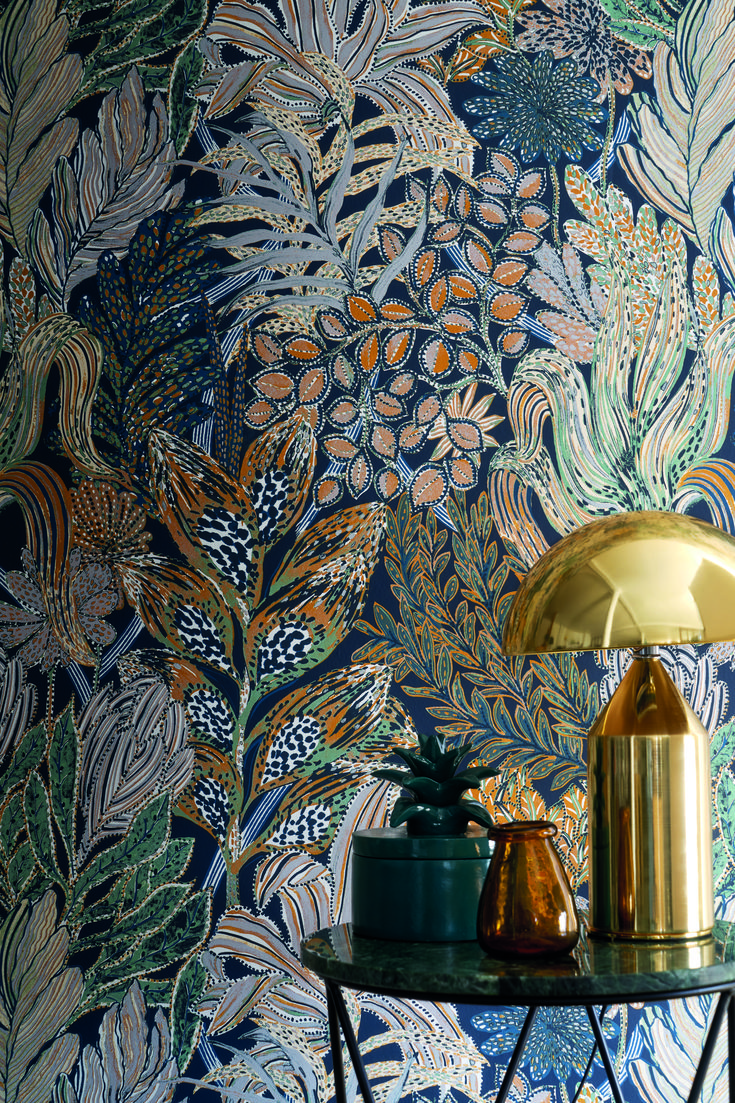 Casamance Borromee Vert Wallpaper 74320324 Blossom