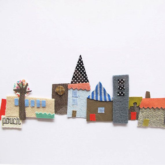Personalised Baby Gift - Framed Village Fabric Collage