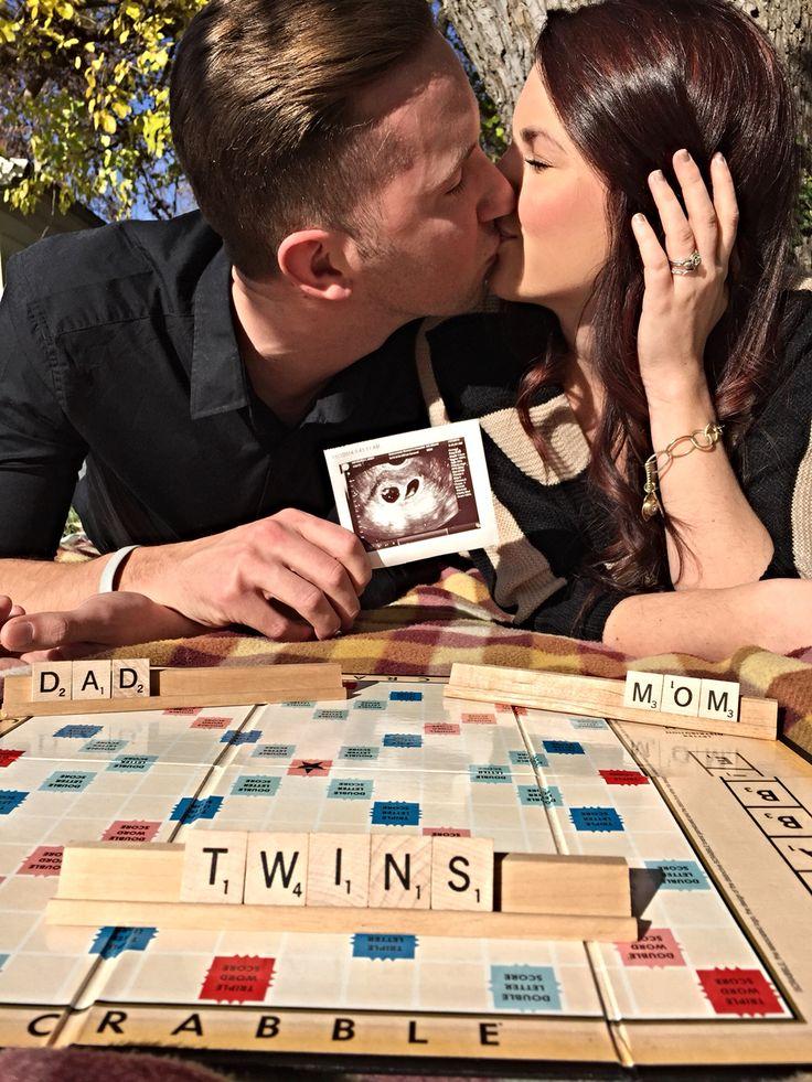 17 Best ideas about Twin Pregnancy Announcements – Scrabble Baby Announcement