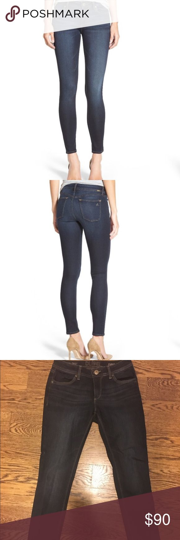 """DL Emma denim power legging Only been worn once great condition!An ultra-saturated indigo rinse colors figure-sculpting denim leggings with classic five-pocket styling and subtle fading through the thighs. 29"""" inseam; 9 1/2"""" leg opening; 8 1/4"""" front rise; 12 1/2"""" back rise (size 29) Zip fly with button closure Five-pocket style Dark dye may transfer to lighter materials 64% Tencel® lyocell, 34% polyester, 2% spandex Machine wash cold, line dry Imported t.b.d. DL1961 Jeans Skinny"""