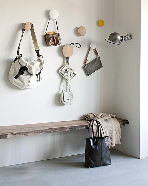 """The Dots"" Coat Hooks available from http://www.zoma.co.uk/shop/other/muuto-the-dots-coat-hooks-set-natural-oak/"