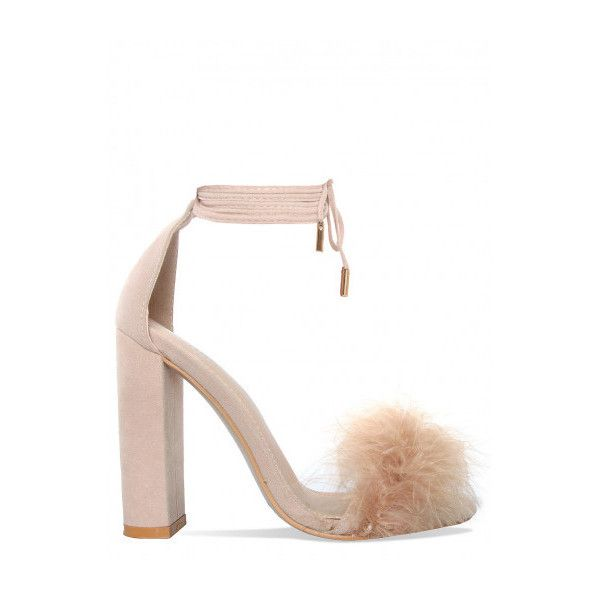 Dilara Nude Suede Faux Fur Lace Up Heels : Simmi Shoes (€7,78) ❤ liked on Polyvore featuring shoes, pumps, lace up pumps, nude court shoes, suede shoes, nude pumps and suede pumps