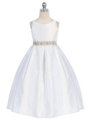White Elegant Pleated Bridal Satin Flower Girl Dress - Pageant - GIRLS www.prettyflowergirl.com