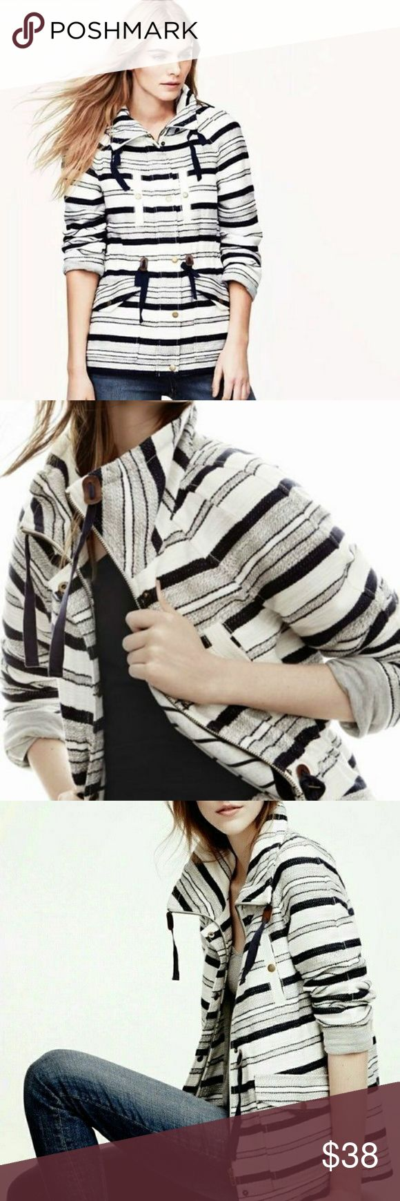 BNWT ANN TAYLOR LOFT  Striped jacket  :) Navy blue and white striped jacket :) XS but i think fits Small too :) Ann Taylor Jackets & Coats