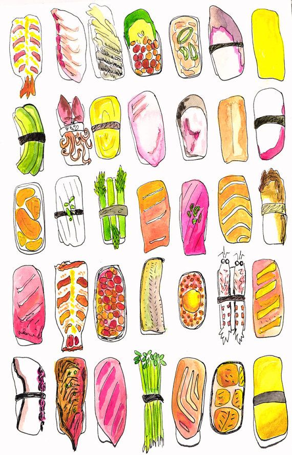 Just finished this original watercolor today. Prints available on my shop! Sushi Set A print of original watercolor by NYCGalleryGirl on Etsy, $20.00