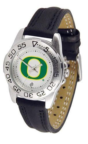 University of Oregon Ducks Women's Leather Band Athletic Watch
