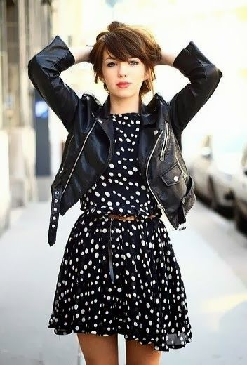 Polka dots + moto leather. I wouldn't wear that exact dress since it's too short for me, but I love the idea.
