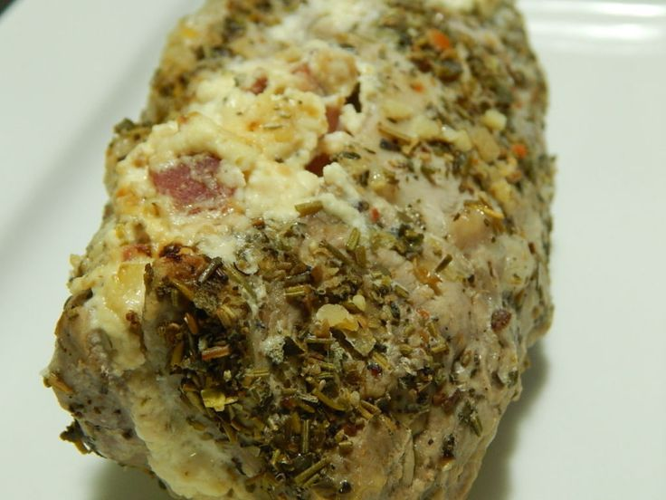 Herb and Garlic Cream Cheese Stuffed Pork Tenderloin