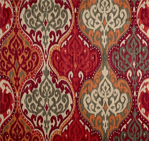 Red Orange Window Curtains Trendy Damask Drapes Moroccan