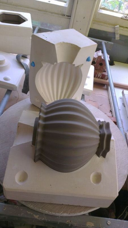 Slip cast Kitschpot in mould at CP Ceramics