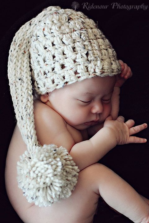 Newborn Oatmeal color elfin pixie cap pom pom /hat