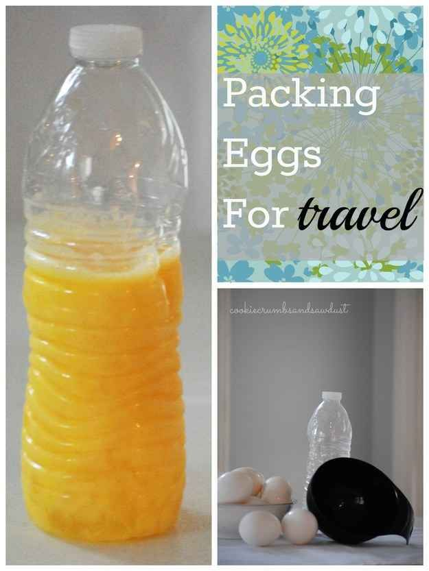 A 16 oz. water bottle will hold 8-9 large eggs. Perfect for scrambled eggs and not needing to worry about breaking the shells