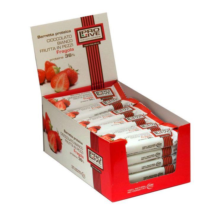 Nutrytional® - PROLIVE box di barrette nutrizionali al cioccolato bianco e fragola con proteine