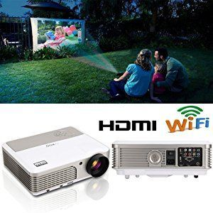 EUG Wireless Home Theater Projector HDMI USB, Support Full HD 1080P 720P,  with Built-in Speakers Keystone Remote 50000 Hours LED Lifespan, Movie Video Games Indoor Outdoor LCD Beamer