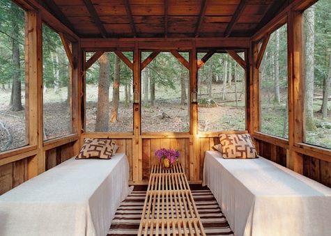 A sleeping porch in the Sullivan County, New York, cabin of Scott Newkirk