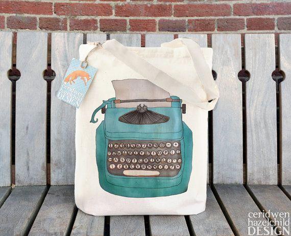Typewriter Fair Trade Tote Bag, Reusable Shopper Bag, Cotton Tote, Shopping Bag, Eco Tote Bag, Reusable Grocery Bag