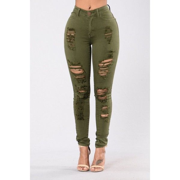 Havin It Skinny Jean Olive ($25) ❤ liked on Polyvore featuring jeans, straight leg jeans, high-waisted jeans, distressed jeans, high waisted ripped skinny jeans and high waisted distressed jeans