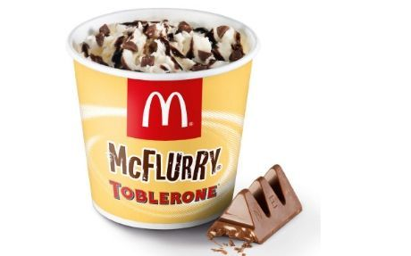 McFlurry Toblerone Denmark: Everybody's favourite Swiss, nougat-scattered chocolate in a McFlurry. Win