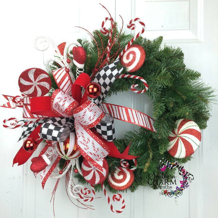 christmas wreath holiday wreath peppermint whimsical candy wreath wreaths for sale. Black Bedroom Furniture Sets. Home Design Ideas