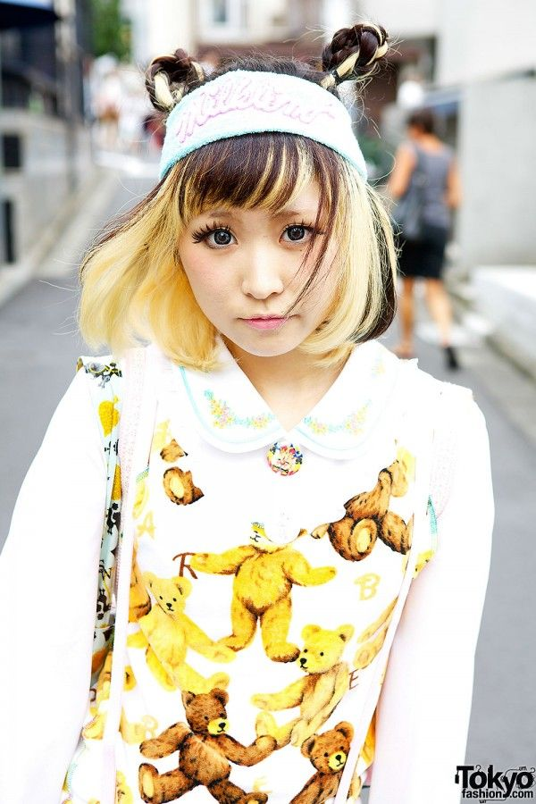 Sep 2013: Hana is wearing a resale teddy bear-print top with resale red  blue st…