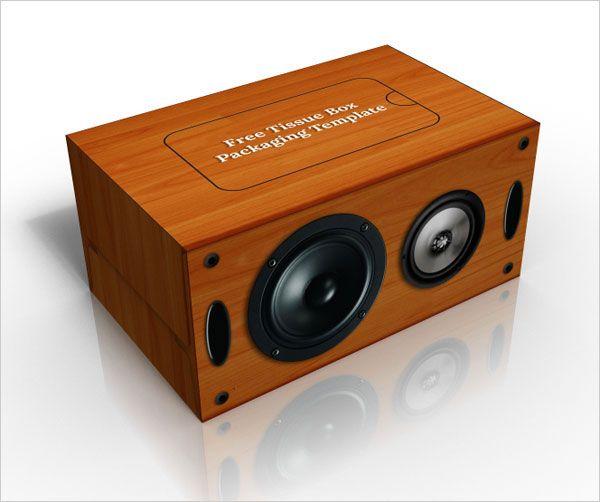 Free Wooden Speaker Tissue Box Packaging Design PSD ...