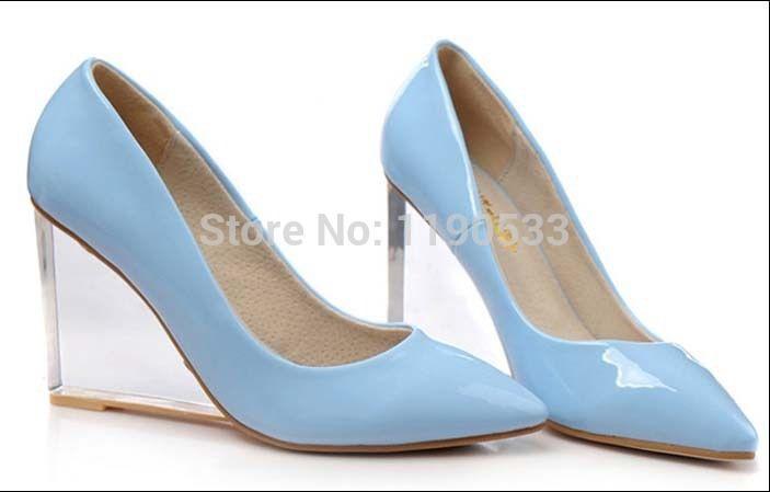 Купить товарЖенщины клинья высокая высокие каблуки прозрачный с острым палец на ноге туфли на высоком каблуке сексуальный низкая клин один обувь лакированная кожа свадьба обувь в категории Туфлина AliExpress. 2017 women wedges high top canvas casual shoes lace up side zipper platform elevator heels breathable ladies shoes big s
