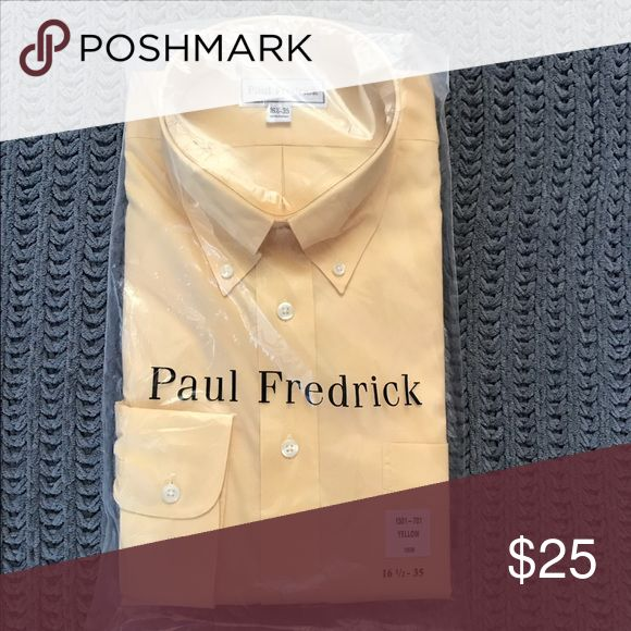 🎉NWT🎉 Fitted Paul Frederick Yellow Dress Shirt Fitted Paul Fredrick dress shirt size 16 1/2-35 in spring yellow. NWT Paul Fredrick Shirts Dress Shirts