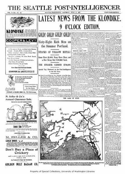 File:Seattle Post Intelligencer newspaper front page for July 17 1897 announcing the arrival of the steamer PORTLAND in Seattle from the Klondike gold fields.png