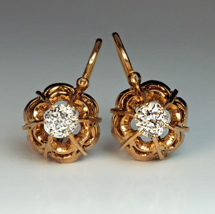 Antique Victorian Era Old Mine Diamond Gold Openwork Earrings | Made in Moscow between 1899 and 1908. They are set with two sparkling, brightwhite, old mine cut Diamonds | It is marked with 56 zolotnik old Russian Gold standard with assayer's initials of Ivan Lebedkin and maker's initials. Including earwires, each earring is 3/4 of an inch in length. | via russianromanov.comv