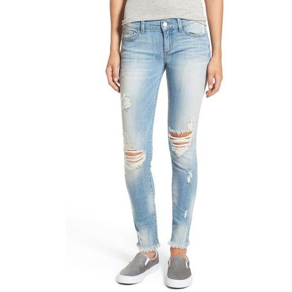 Women's Sp Black Destroyed Skinny Jeans ($58) via Polyvore featuring jeans, light wash, denim skinny jeans, ripped jeans, light wash destroyed skinny jeans, white distressed skinny jeans and ripped skinny jeans