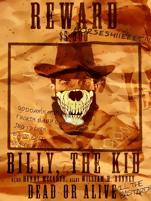 RP Character Illustration, Billy, The Kid Wanted Poster model: Justin Theroux