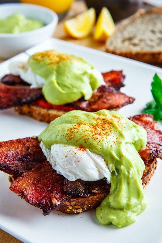 Eggs Benedict with Bacon, Avodaise (Avocado Hollandaise) and Harissa Green eggs and ham