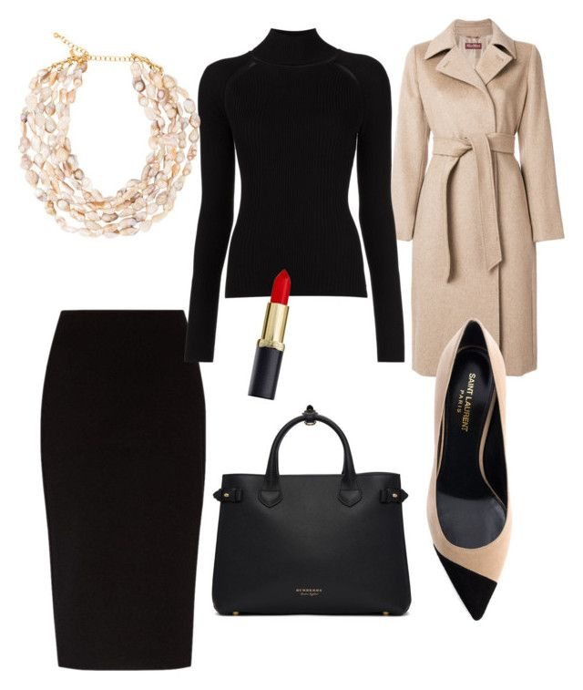 Corporate-chic by styles-bykim on Polyvore featuring polyvore moda style Misha Nonoo MaxMara The Row Yves Saint Laurent Burberry Kenneth Jay Lane fashion clothing