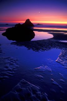 Oregon Coastal Tour ~ Twilight Moonset Refected © Mark Rasmussen