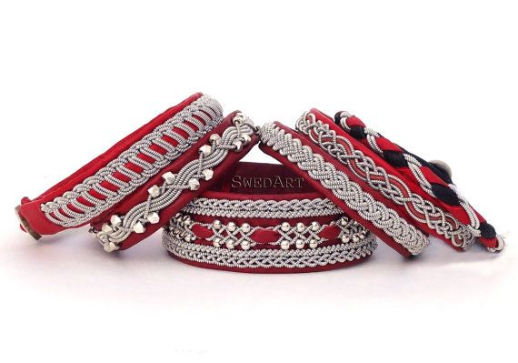 SwedArt B118 Red Frost  Leather Bracelet in Martha Stewart Living w Sterling Silver Beads and Pewter Button, Red SMALL
