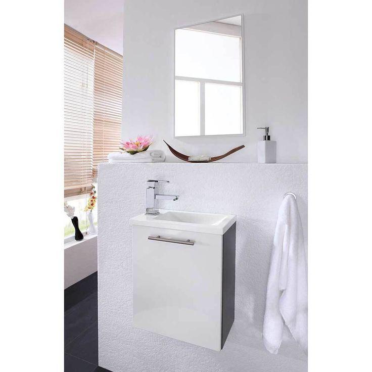 Fresh Badezimmer Kombination in Wei Hochglanz Anthrazit f r kleines Bad teilig Jetzt bestellen unter https moebel ladendirekt de bad badmoebel badmoebel
