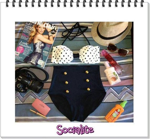 Socialite Retro High Waist Swimsuit ( White Polka Dots Top and Black Bottom) S M L XL on Etsy, $49.95