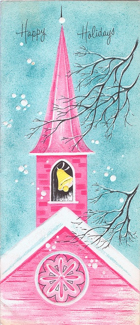 Pink Church with Yellow Bell on Aqua