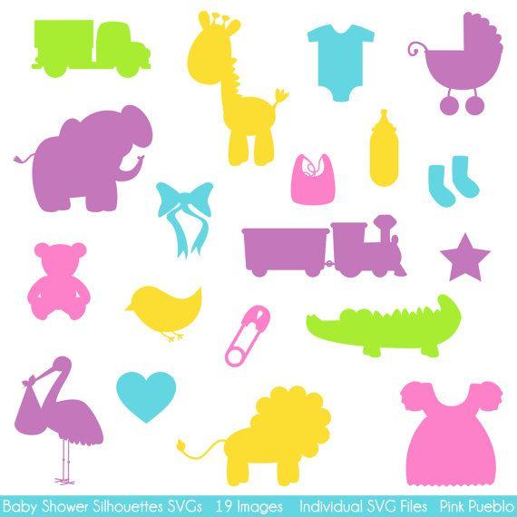 Babyparty Silhouettes SVGs Baby Dusche schneiden von PinkPueblo