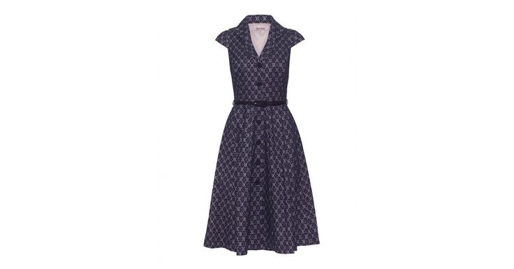 Review Australia | Kimba Lace Shirt Dress  Navy/blush