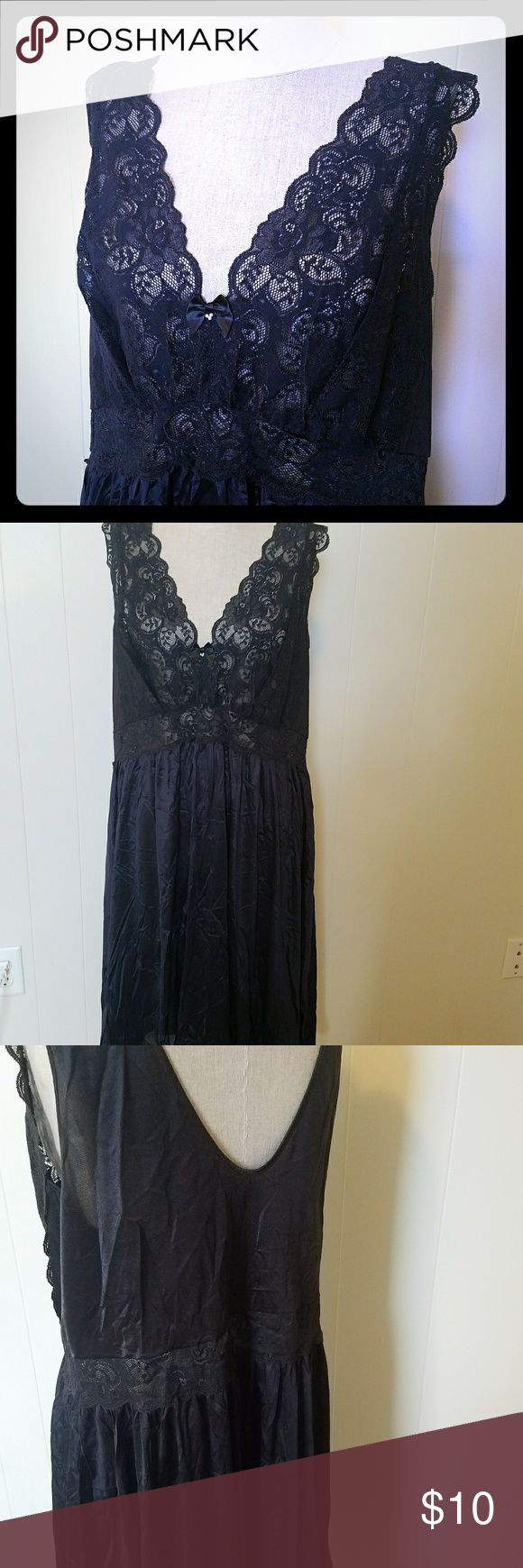 Lacey Black Nightgown Black slinky nighty with lace front, plunging neckline, and low back fits all your curves just right.  Hits at knee length. Shadowline Intimates & Sleepwear Pajamas