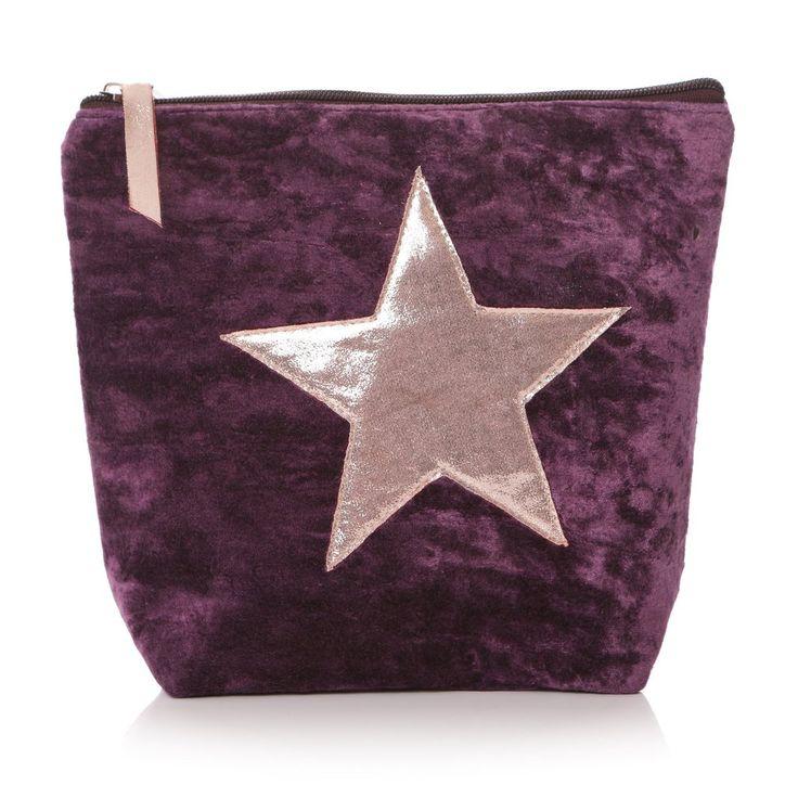 Velvet Effect Star Wash Bag - Purple