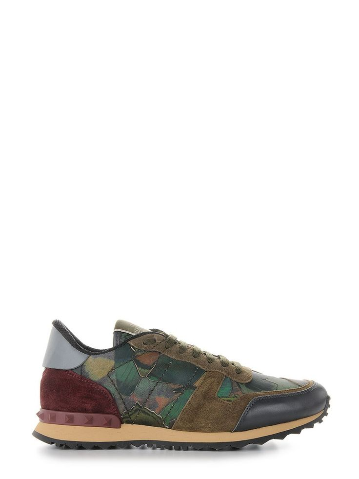Multicoloured cotton and calf leather 'Camubutterfly Rockrunner' sneakers from Valentino Garavani featuring an almond toe, a lace-up front fastening, a brand embossed tongue, tonal pyramid studs and a flat rubber sole.