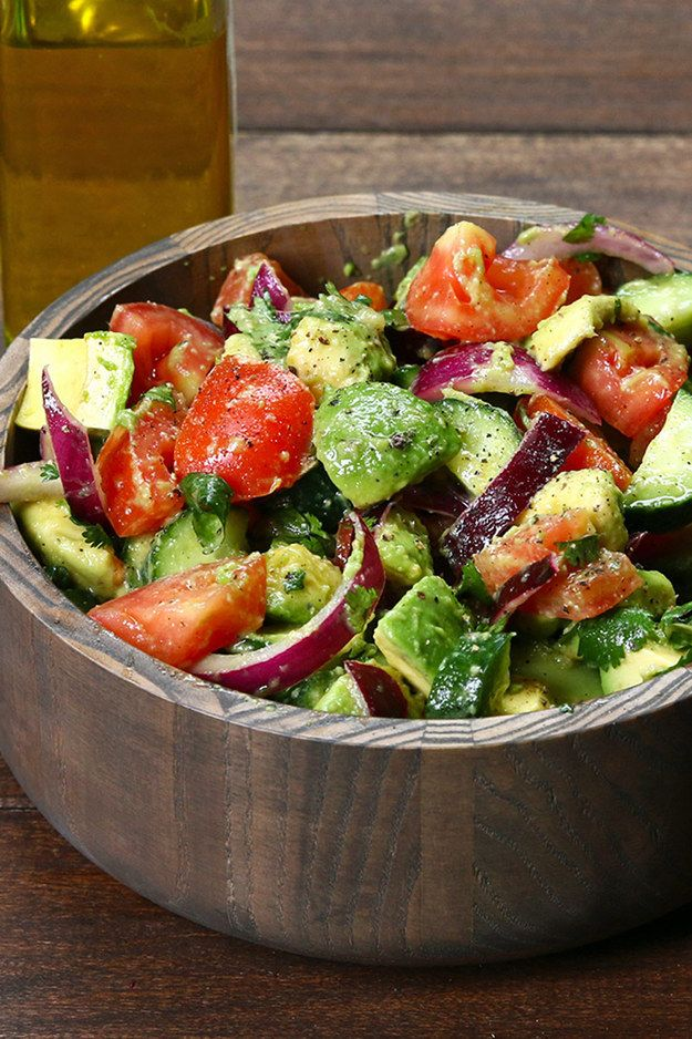 Cucumber, Tomato, and Avocado Salad-1 English cucumber 4 Roma tomatoes 3 ripe avocados ½ red onion ¼ cup cilantro Juice of 1 lemon Salt and black pepper to taste 2 Tbsp. extra virgin olive oil