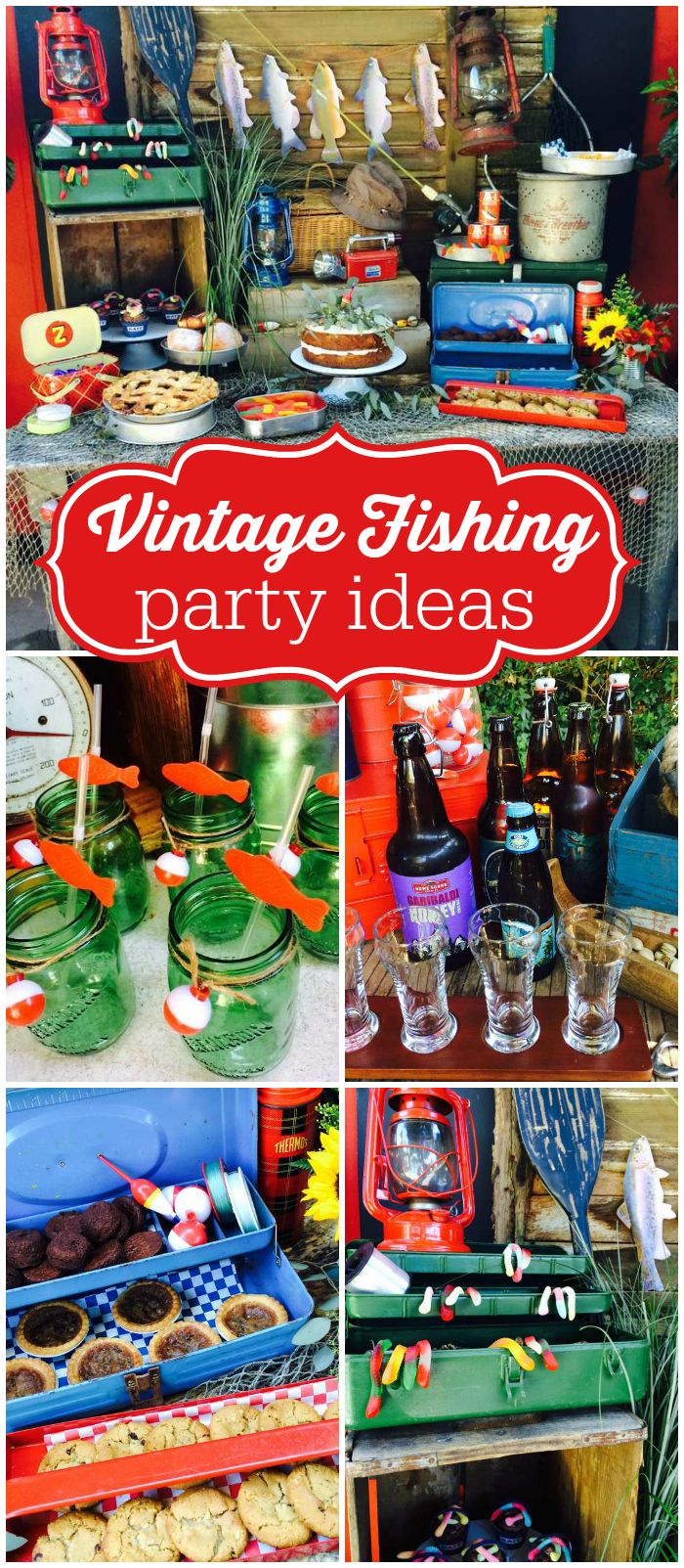 Love this vintage fishing party with a bait shop and tackle shop food tables! See more party ideas at CatchMyParty.com!