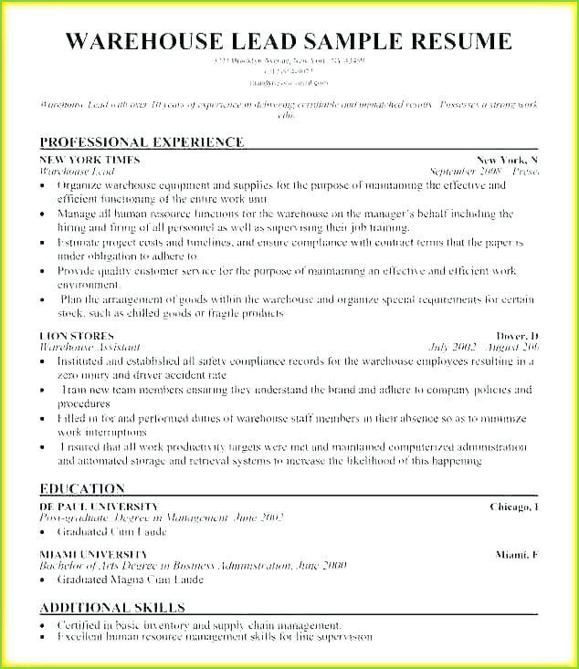 Picker Packer Job Description For Resume Resume Resume Examples Warehouse Resume