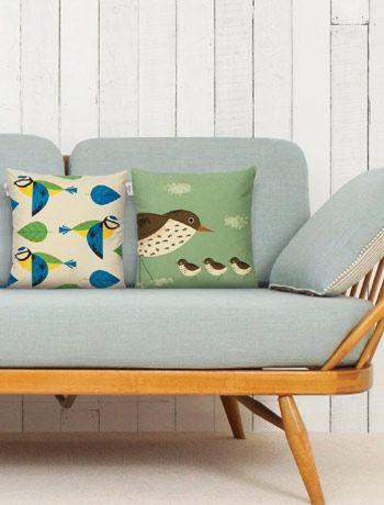 Verty cute British birds cushions - love 1950s retro  lovehome.co.uk