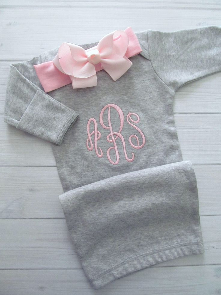 Baby Girl Coming Home Outfit Personalized Gray Gown Pink Bow Headband Newborn Girl Embroidered Monogram Baby Shower Gift Baby Girl Clothes by BellaBabyBoutiques on Etsy https://www.etsy.com/listing/550156577/baby-girl-coming-home-outfit