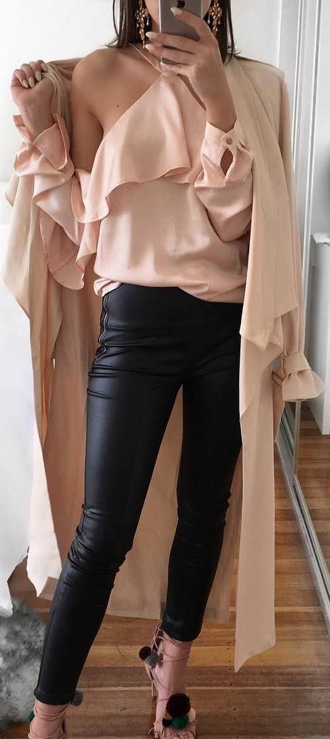 stylish look | nude coat + silk blouse + pants + heels